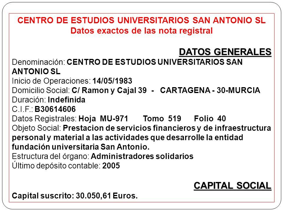 CENTRO DE ESTUDIOS UNIVERSITARIOS SAN ANTONIO SL