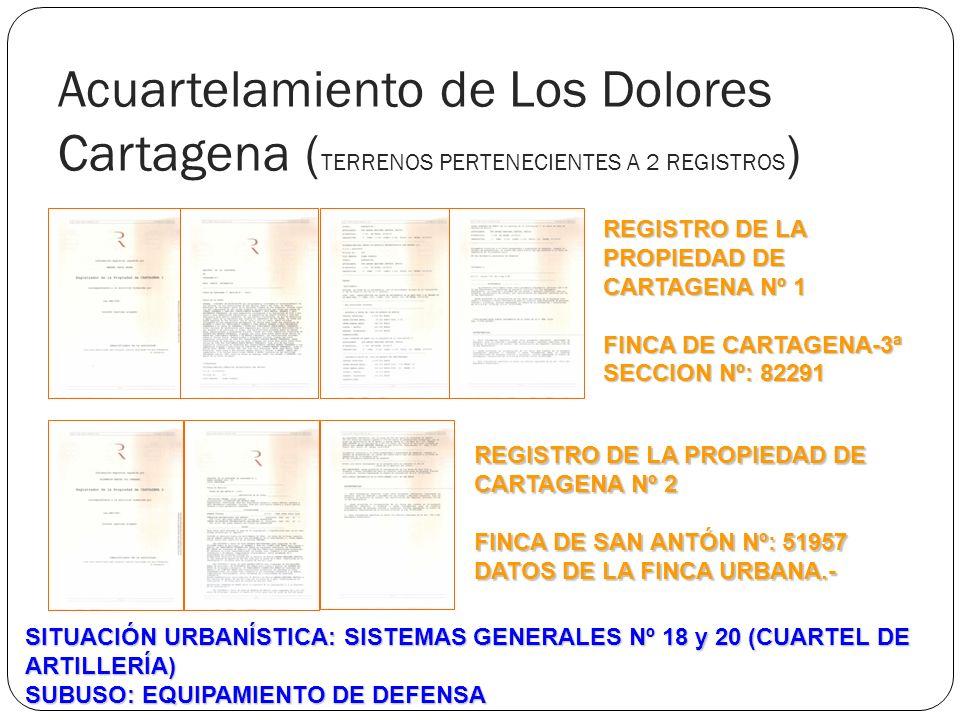 Acuartelamiento de Los Dolores Cartagena (TERRENOS PERTENECIENTES A 2 REGISTROS)