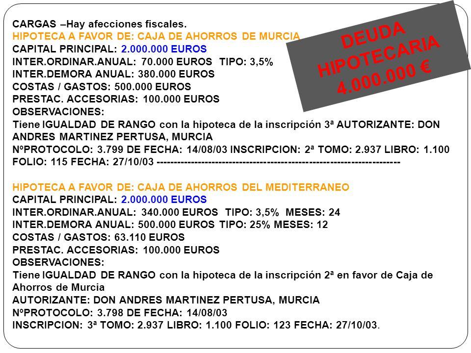 DEUDA HIPOTECARIA 4.000.000 € CARGAS –Hay afecciones fiscales.