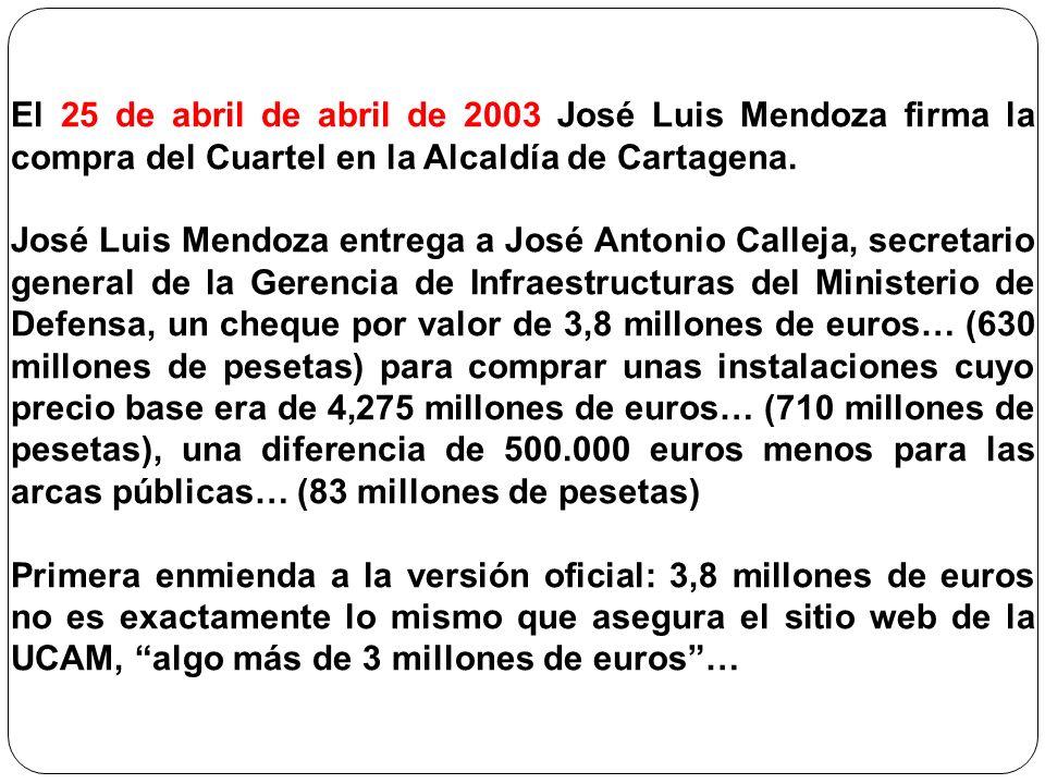 El 25 de abril de abril de 2003 José Luis Mendoza firma la compra del Cuartel en la Alcaldía de Cartagena.