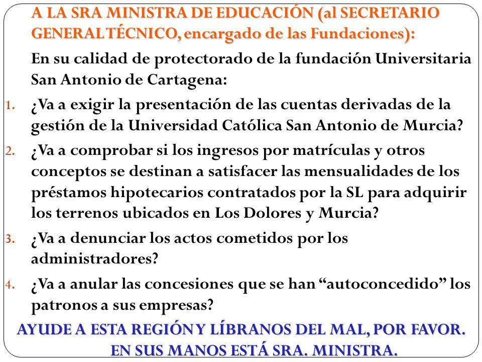 A LA SRA MINISTRA DE EDUCACIÓN (al SECRETARIO GENERAL TÉCNICO, encargado de las Fundaciones):