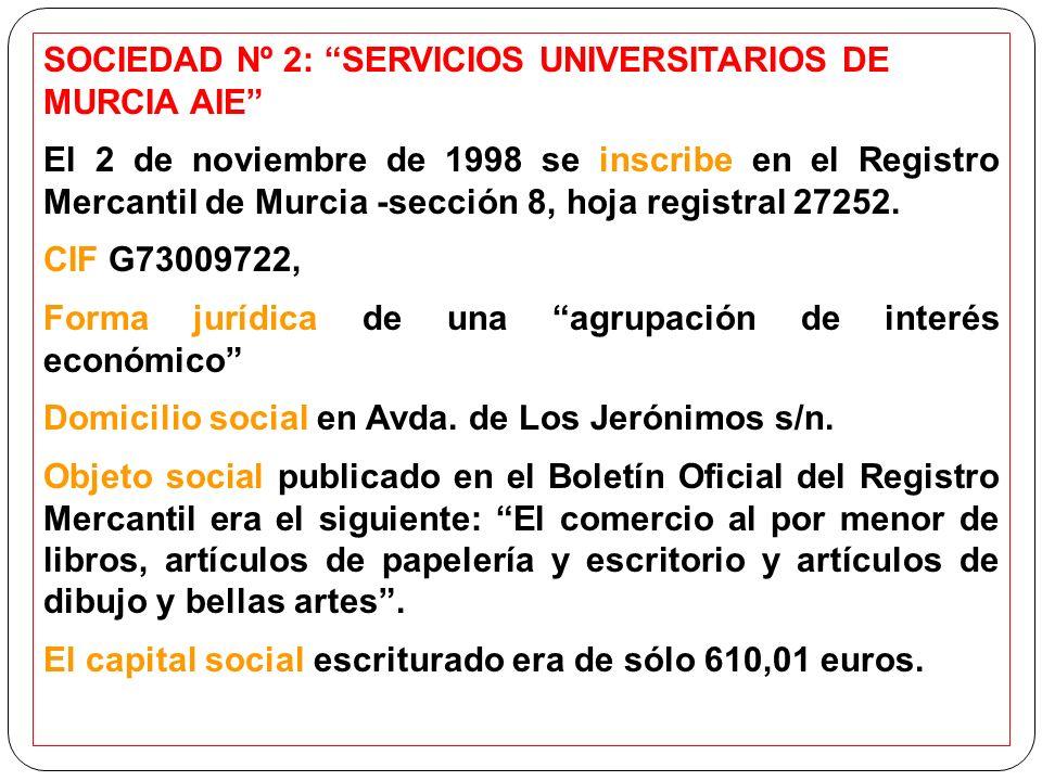 SOCIEDAD Nº 2: SERVICIOS UNIVERSITARIOS DE MURCIA AIE