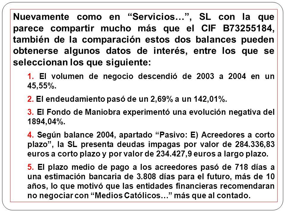 Nuevamente como en Servicios… , SL con la que parece compartir mucho más que el CIF B73255184, también de la comparación estos dos balances pueden obtenerse algunos datos de interés, entre los que se seleccionan los que siguiente: