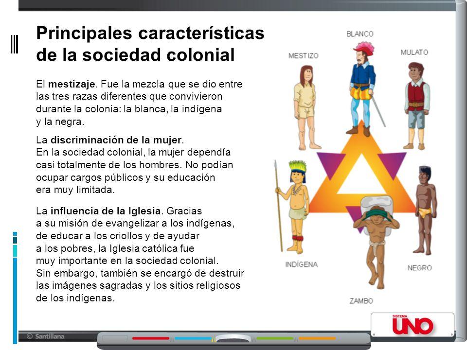 Principales características de la sociedad colonial