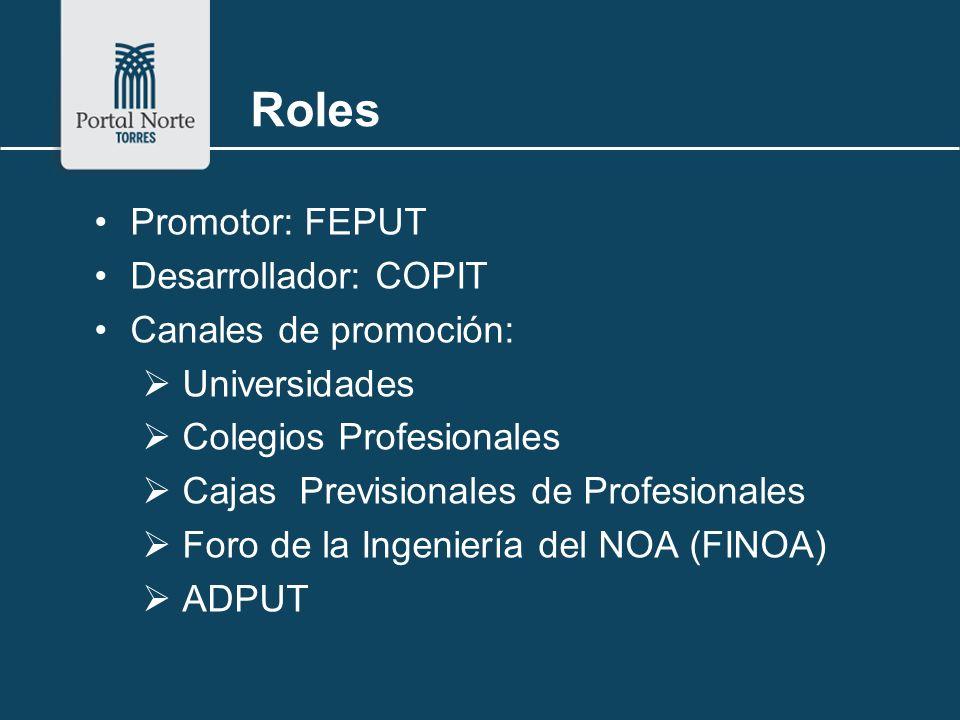 Roles Promotor: FEPUT Desarrollador: COPIT Canales de promoción: