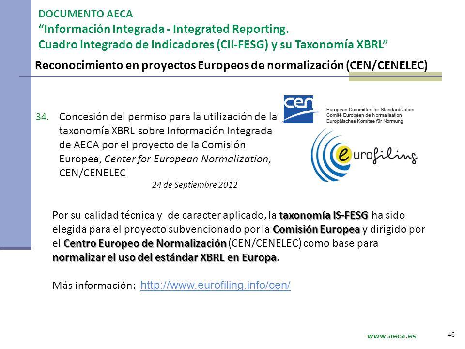 Reconocimiento en proyectos Europeos de normalización (CEN/CENELEC)