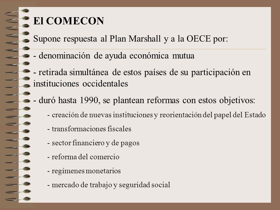 El COMECON Supone respuesta al Plan Marshall y a la OECE por: