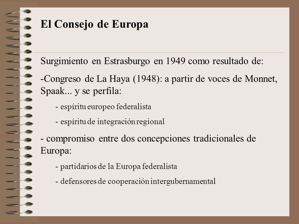 El Consejo de Europa Surgimiento en Estrasburgo en 1949 como resultado de: