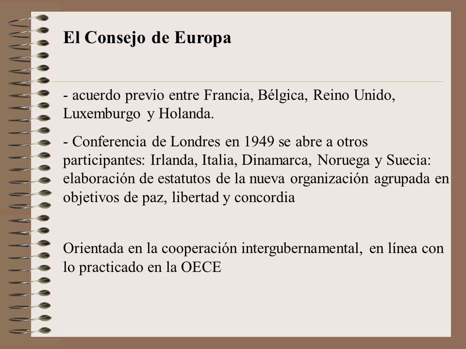 El Consejo de Europa acuerdo previo entre Francia, Bélgica, Reino Unido, Luxemburgo y Holanda.