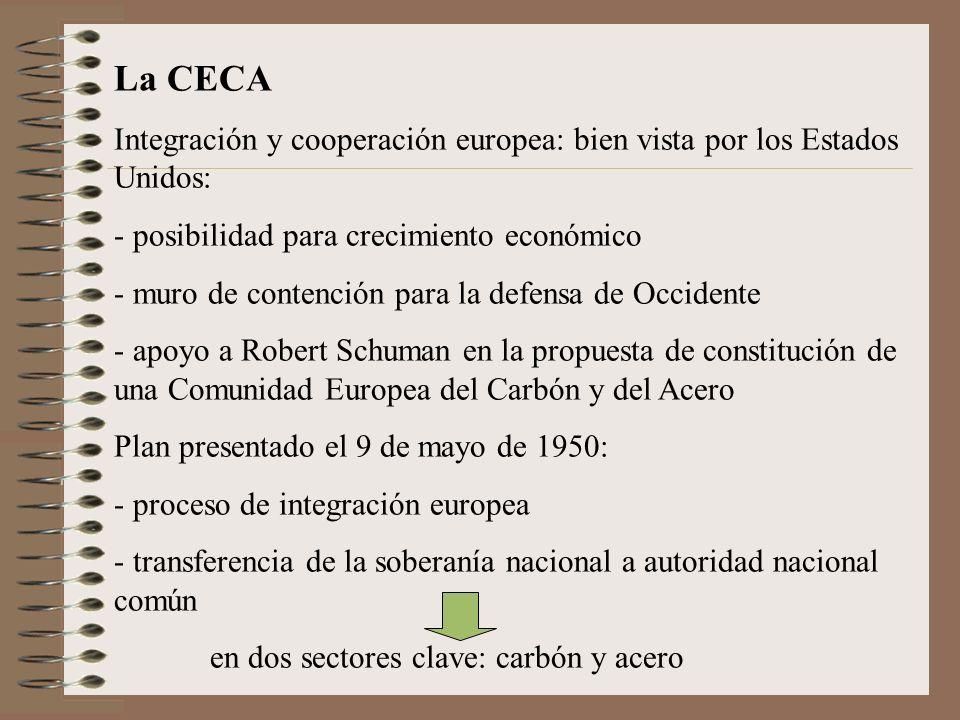 La CECA Integración y cooperación europea: bien vista por los Estados Unidos: posibilidad para crecimiento económico.