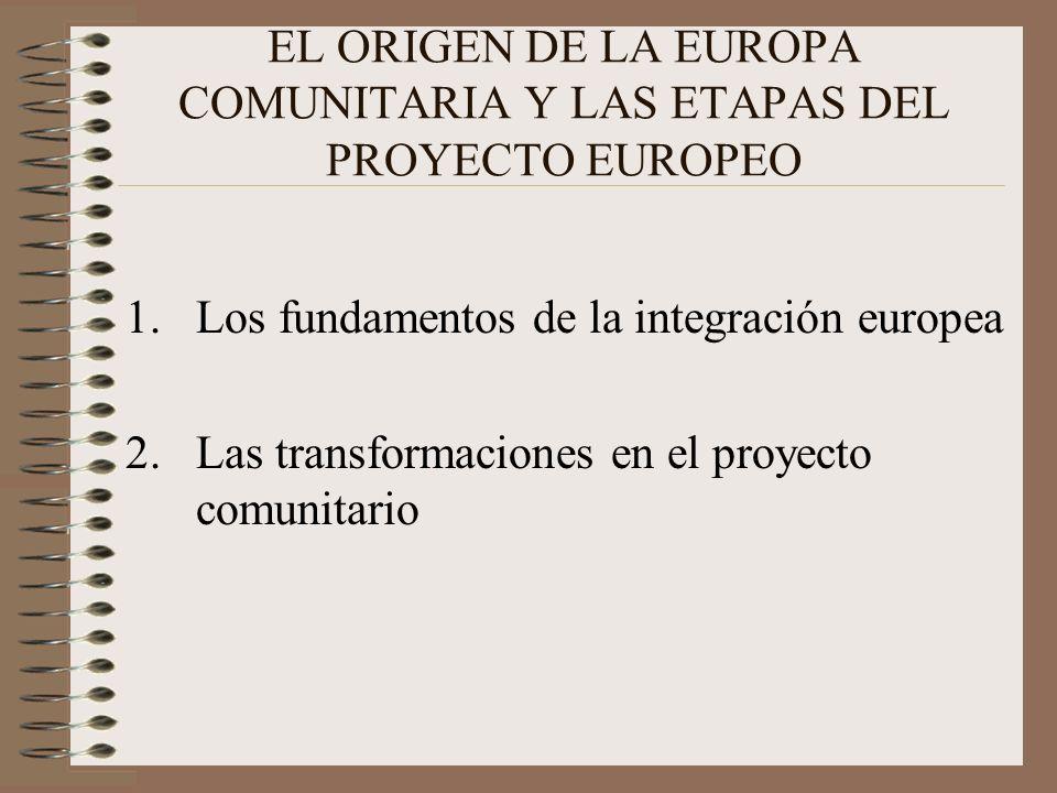 EL ORIGEN DE LA EUROPA COMUNITARIA Y LAS ETAPAS DEL PROYECTO EUROPEO