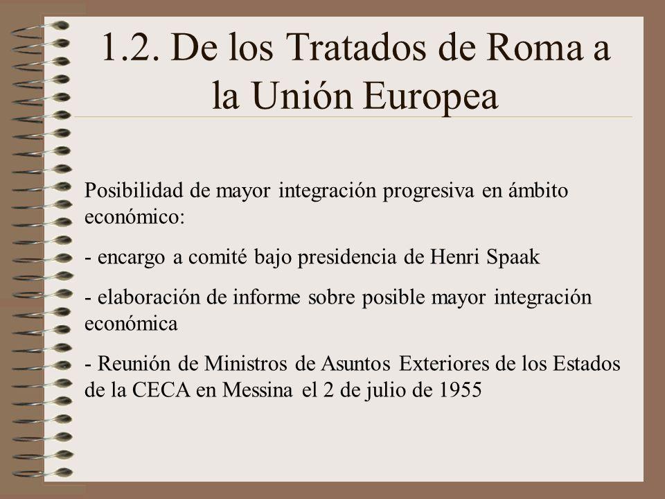 1.2. De los Tratados de Roma a la Unión Europea