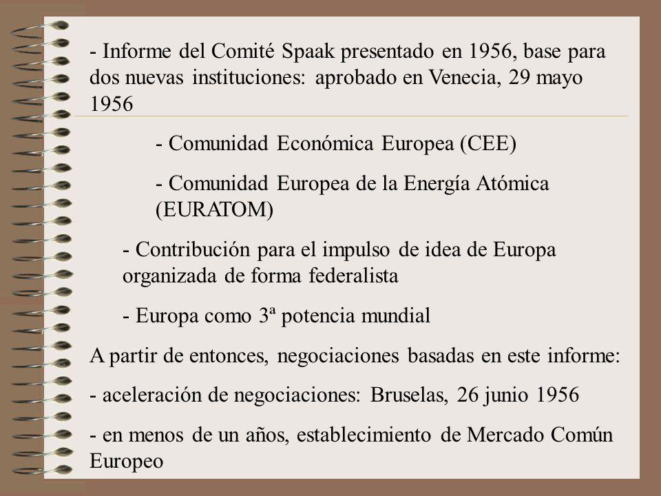 Informe del Comité Spaak presentado en 1956, base para dos nuevas instituciones: aprobado en Venecia, 29 mayo 1956