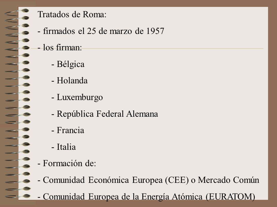 Tratados de Roma: firmados el 25 de marzo de 1957. los firman: Bélgica. Holanda. Luxemburgo. República Federal Alemana.