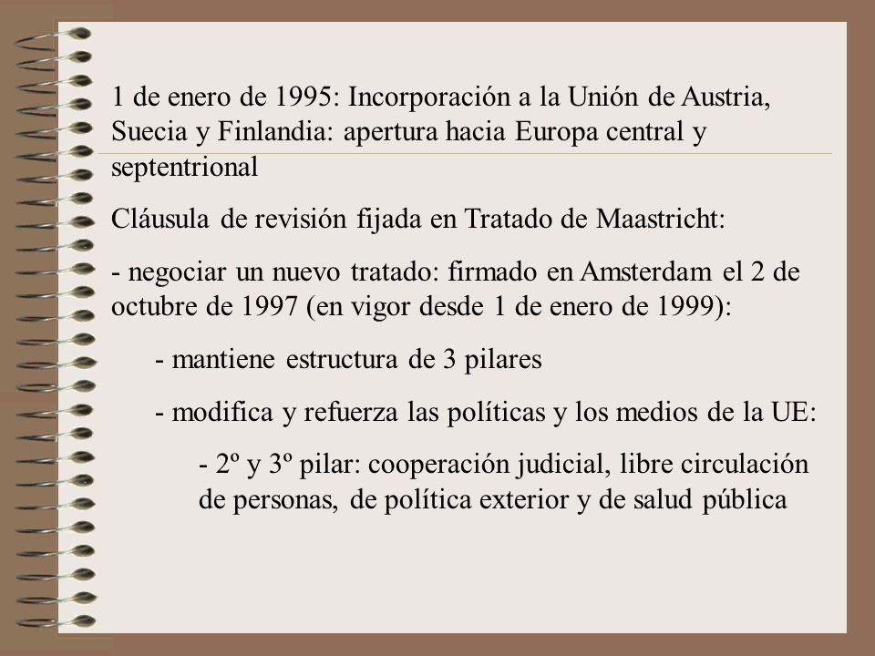 1 de enero de 1995: Incorporación a la Unión de Austria, Suecia y Finlandia: apertura hacia Europa central y septentrional