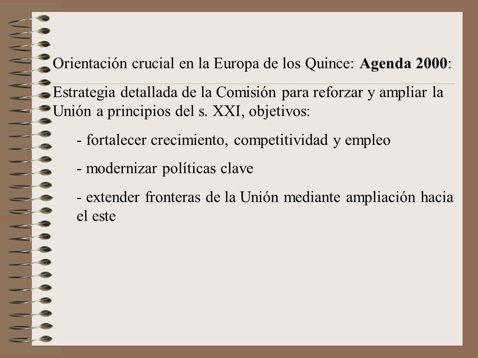 Orientación crucial en la Europa de los Quince: Agenda 2000: