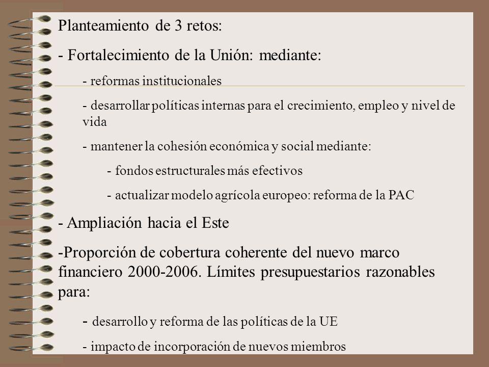 Planteamiento de 3 retos: Fortalecimiento de la Unión: mediante: