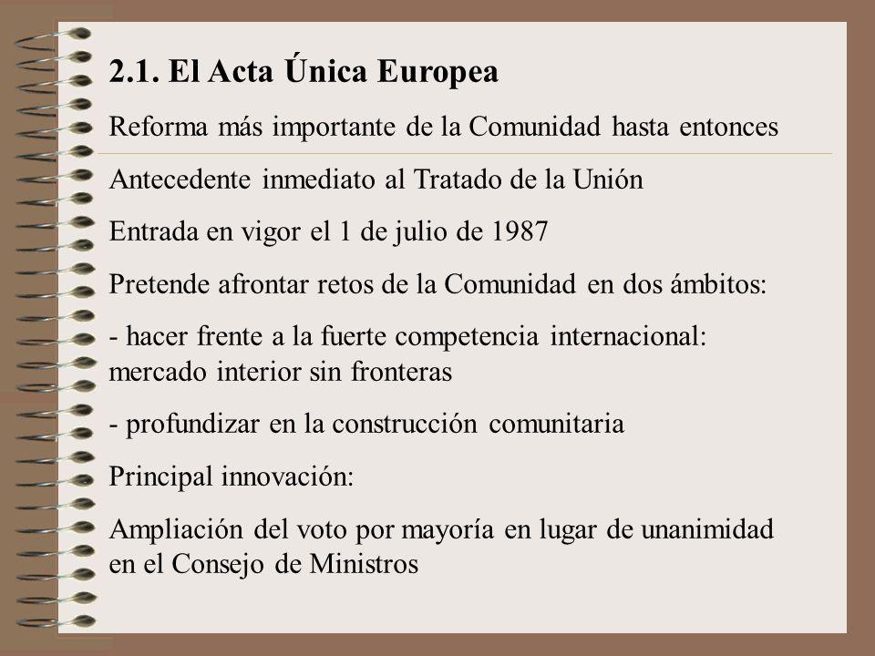 2.1. El Acta Única Europea Reforma más importante de la Comunidad hasta entonces. Antecedente inmediato al Tratado de la Unión.