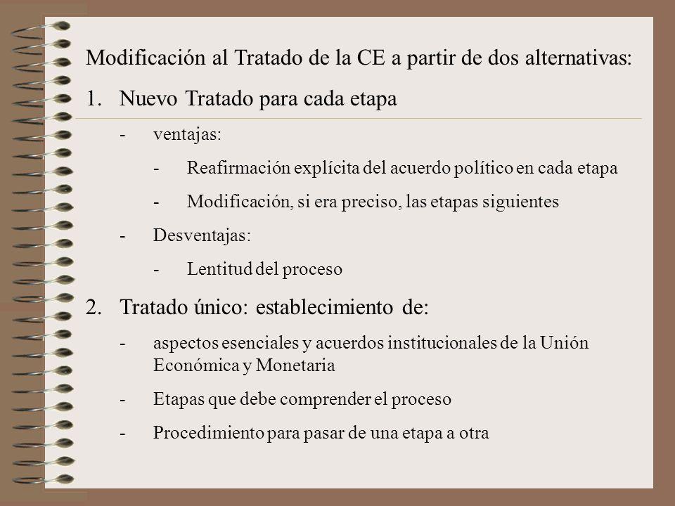 Modificación al Tratado de la CE a partir de dos alternativas: