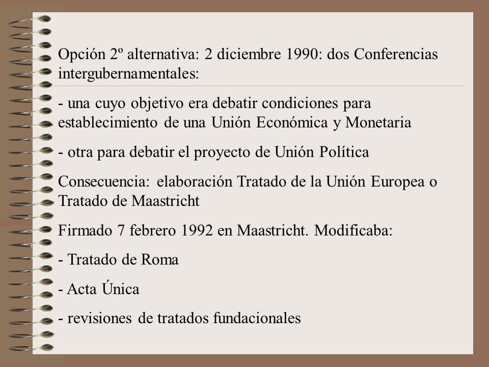 Opción 2º alternativa: 2 diciembre 1990: dos Conferencias intergubernamentales: