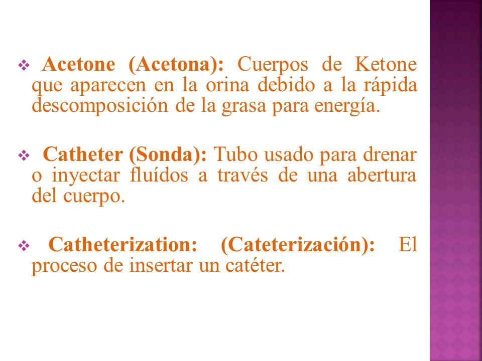 Acetone (Acetona): Cuerpos de Ketone que aparecen en la orina debido a la rápida descomposición de la grasa para energía.