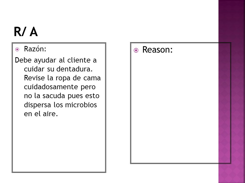 R/ A Razón: