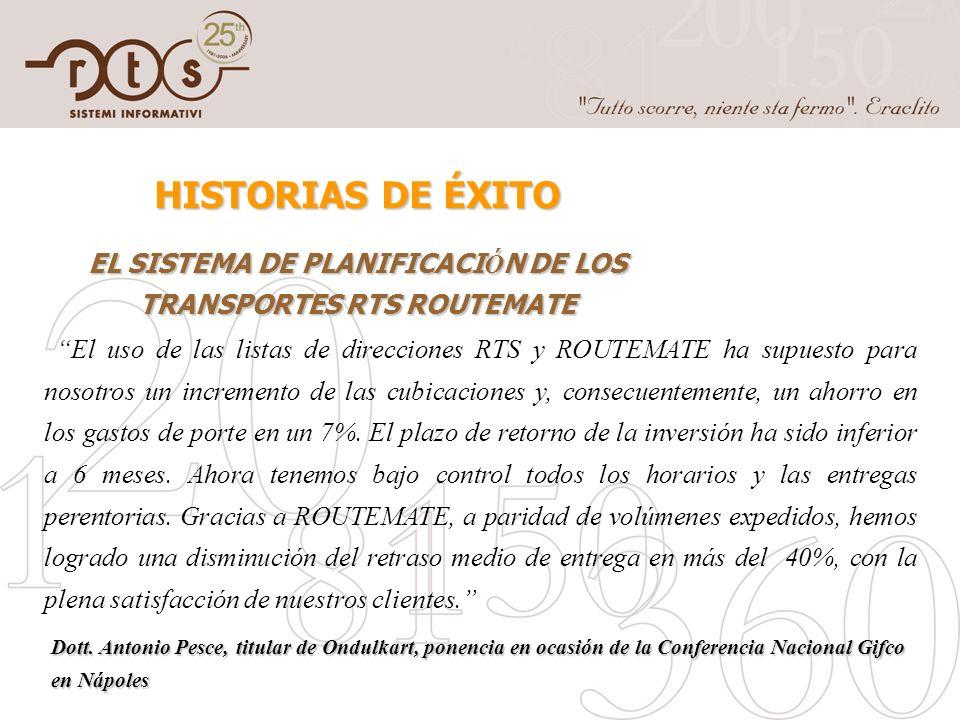 EL SISTEMA DE PLANIFICACIÓN DE LOS TRANSPORTES RTS ROUTEMATE