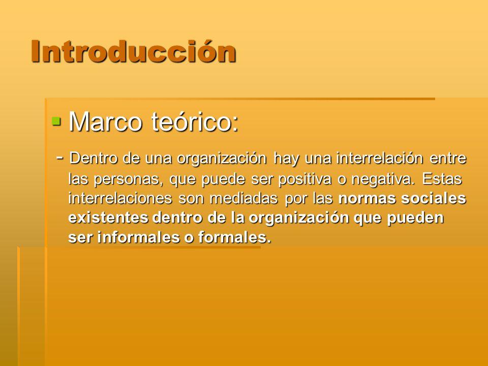 Introducción Marco teórico: