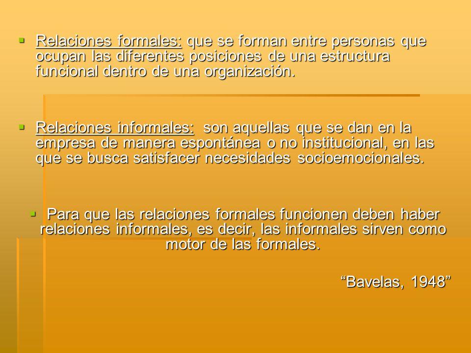 Relaciones formales: que se forman entre personas que ocupan las diferentes posiciones de una estructura funcional dentro de una organización.
