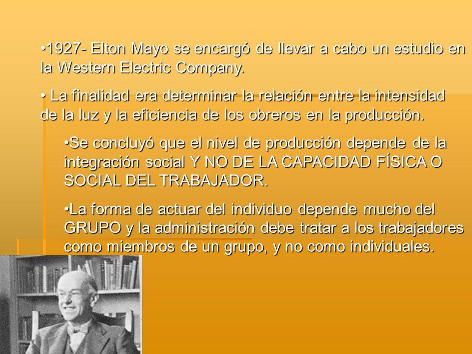 1927- Elton Mayo se encargó de llevar a cabo un estudio en la Western Electric Company.