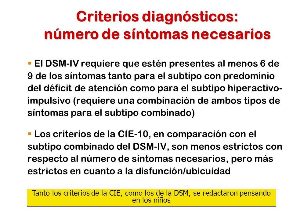 Criterios diagnósticos: número de síntomas necesarios
