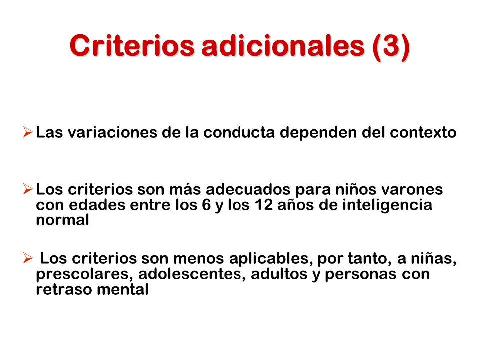 Criterios adicionales (3)