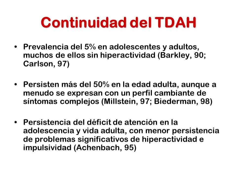 Continuidad del TDAH Prevalencia del 5% en adolescentes y adultos, muchos de ellos sin hiperactividad (Barkley, 90; Carlson, 97)