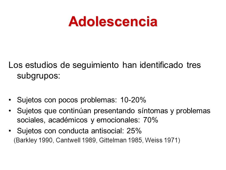 Adolescencia Los estudios de seguimiento han identificado tres subgrupos: Sujetos con pocos problemas: 10-20%