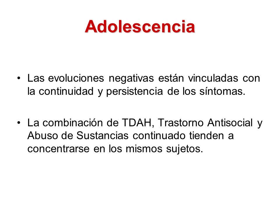 Adolescencia Las evoluciones negativas están vinculadas con la continuidad y persistencia de los síntomas.