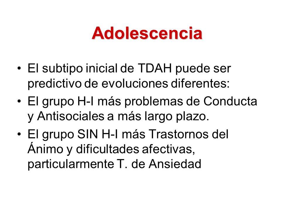 Adolescencia El subtipo inicial de TDAH puede ser predictivo de evoluciones diferentes: