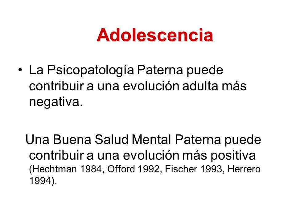 Adolescencia La Psicopatología Paterna puede contribuir a una evolución adulta más negativa.