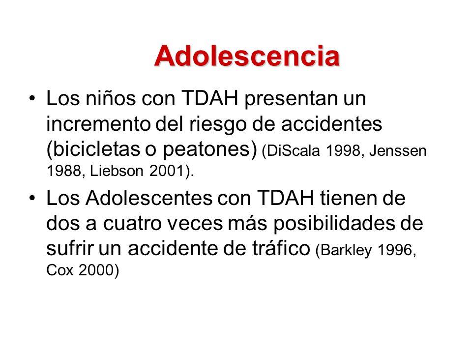Adolescencia Los niños con TDAH presentan un incremento del riesgo de accidentes (bicicletas o peatones) (DiScala 1998, Jenssen 1988, Liebson 2001).