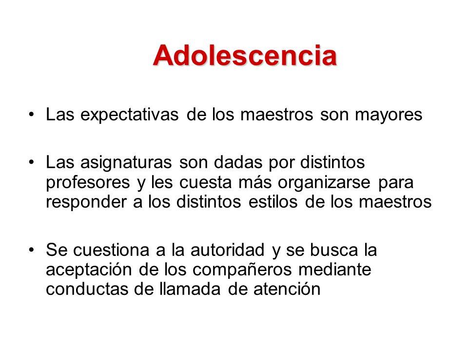 Adolescencia Las expectativas de los maestros son mayores