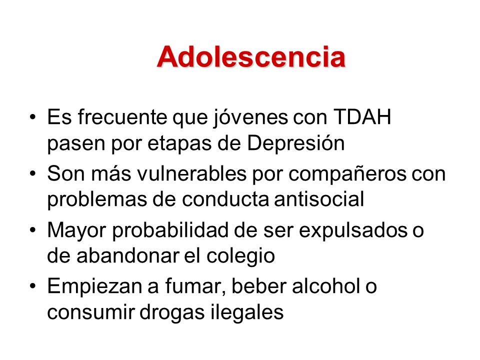 Adolescencia Es frecuente que jóvenes con TDAH pasen por etapas de Depresión.