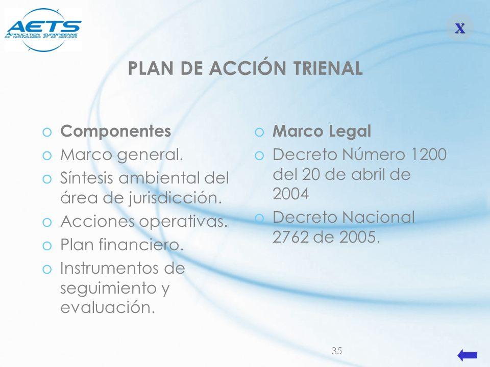 PLAN DE ACCIÓN TRIENAL Componentes Marco general.