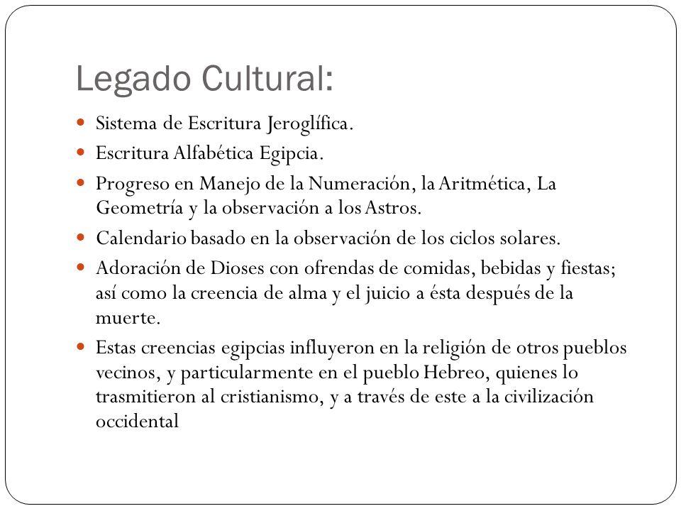 Legado Cultural: Sistema de Escritura Jeroglífica.
