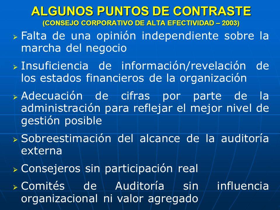 ALGUNOS PUNTOS DE CONTRASTE (CONSEJO CORPORATIVO DE ALTA EFECTIVIDAD – 2003)