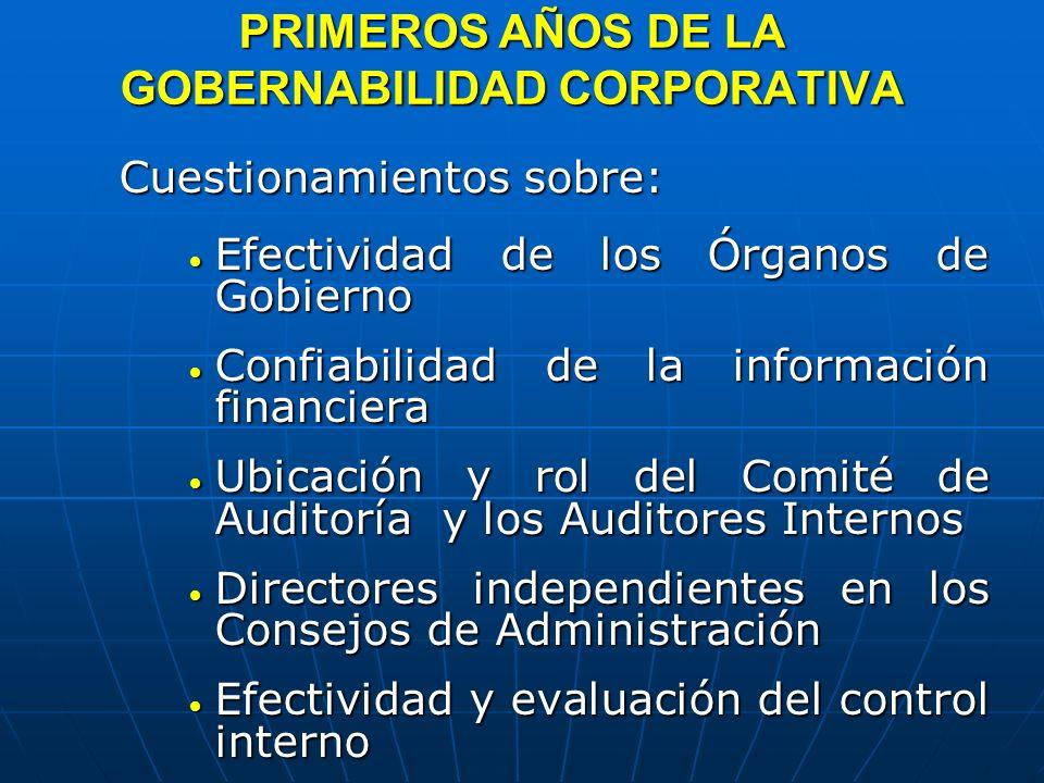 PRIMEROS AÑOS DE LA GOBERNABILIDAD CORPORATIVA