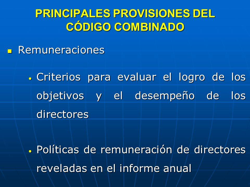 PRINCIPALES PROVISIONES DEL CÓDIGO COMBINADO