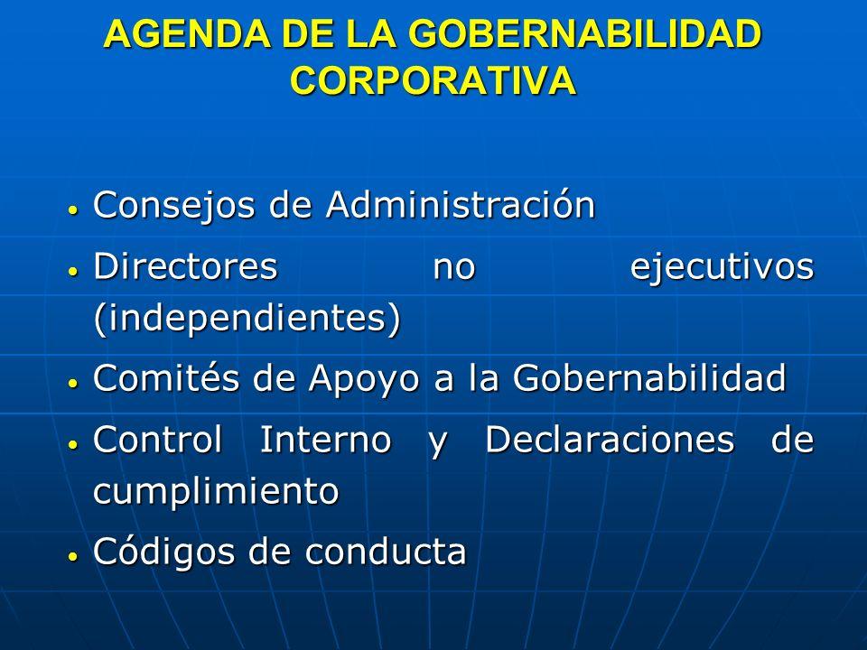 AGENDA DE LA GOBERNABILIDAD CORPORATIVA