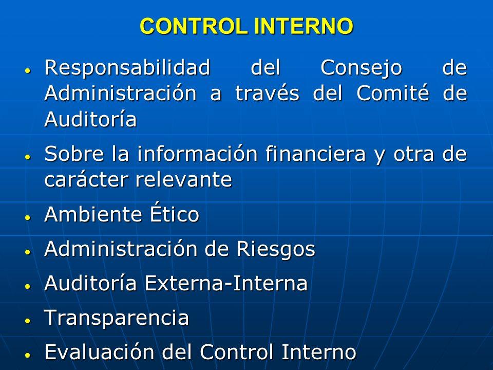 CONTROL INTERNO Responsabilidad del Consejo de Administración a través del Comité de Auditoría.