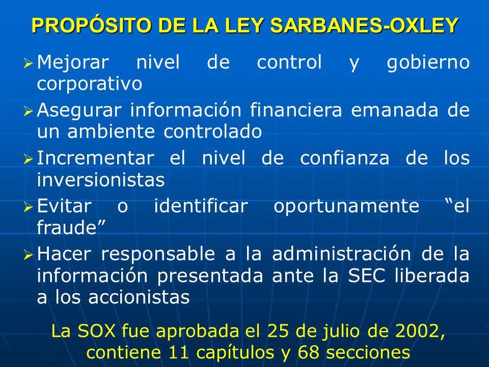 PROPÓSITO DE LA LEY SARBANES-OXLEY