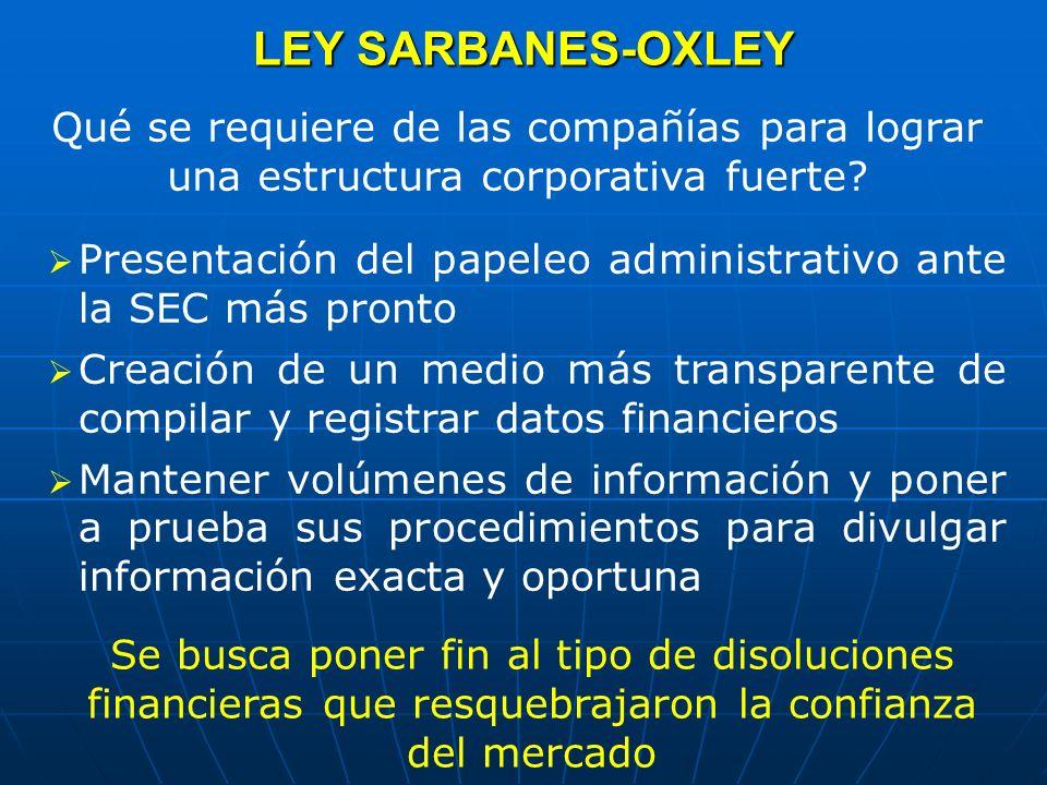 LEY SARBANES-OXLEY Qué se requiere de las compañías para lograr una estructura corporativa fuerte