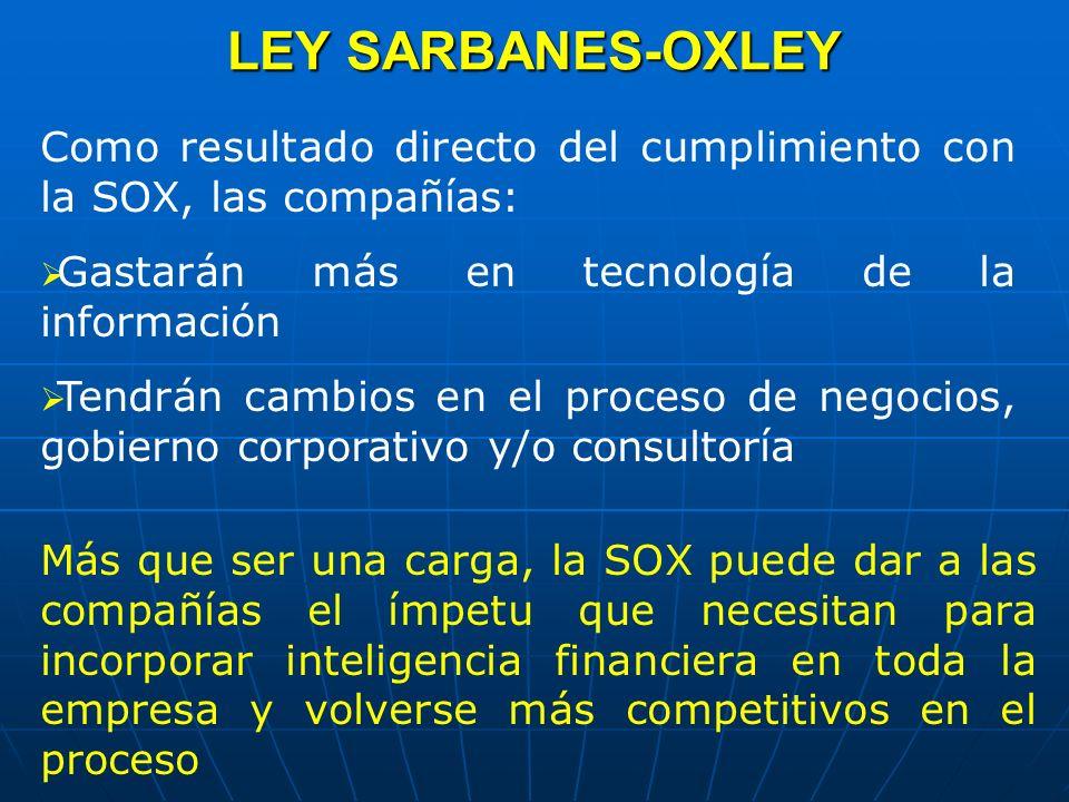 LEY SARBANES-OXLEY Como resultado directo del cumplimiento con la SOX, las compañías: Gastarán más en tecnología de la información.